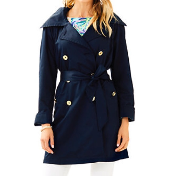 Lilly Pulitzer Jackets & Blazers - Lilly Pulitzer Qynn Trench Coat | Navy